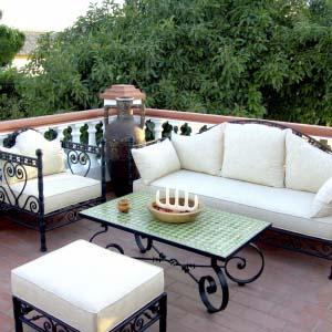 Sof s y sillones muebles forja y tapizados decoandalus for Sofa exterior hierro