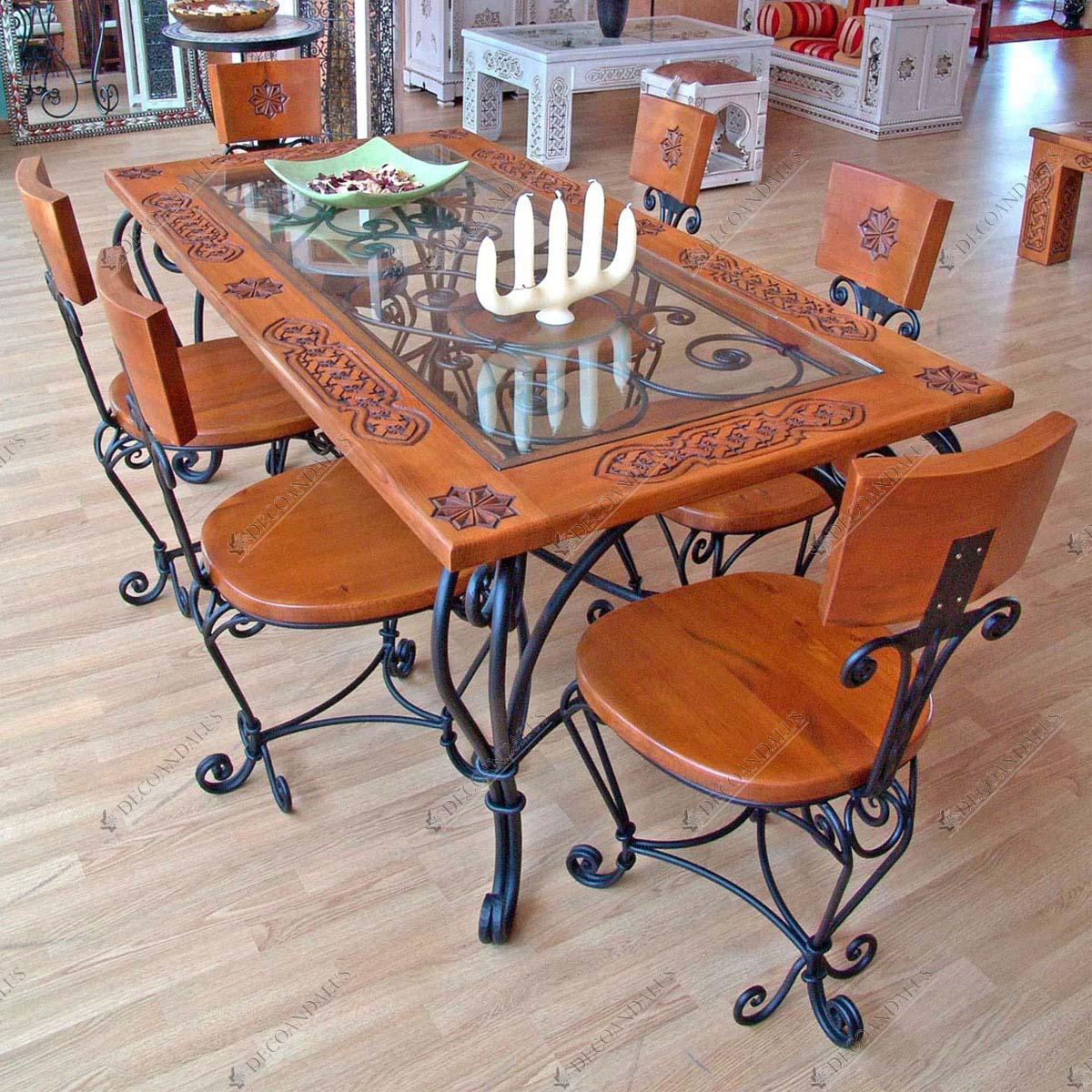 Mesa de comedor de madera maciza y cristal hecho a mano for Mesa cocina madera maciza