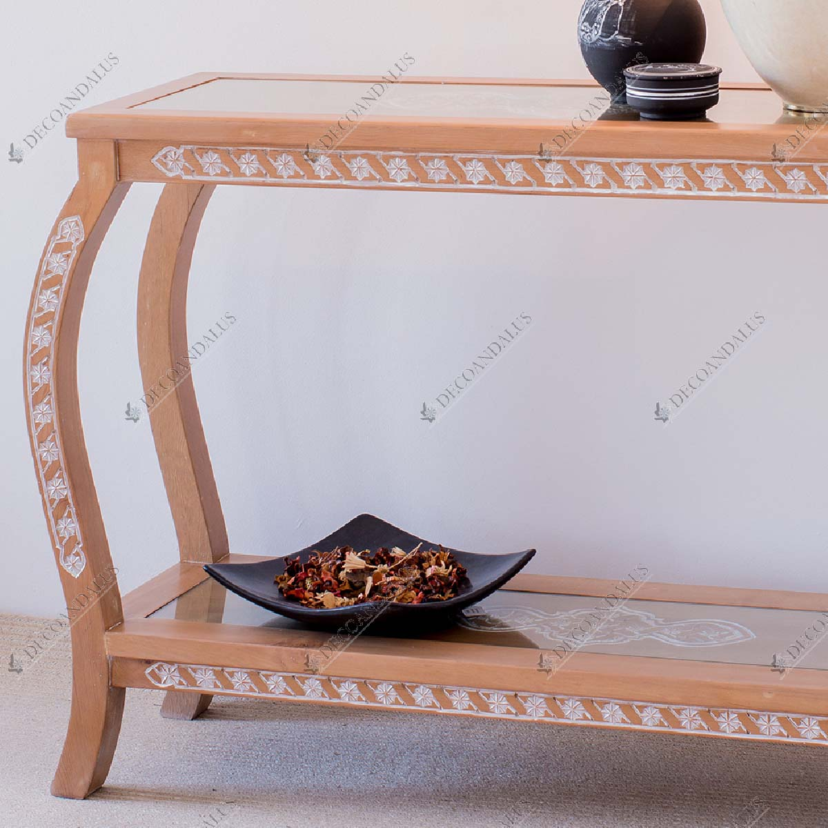 Hand Carved Console Table Solid Cedar Wood 2