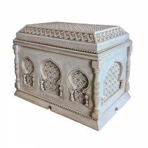 White Solid Wood Trunk Carved 3D 03B