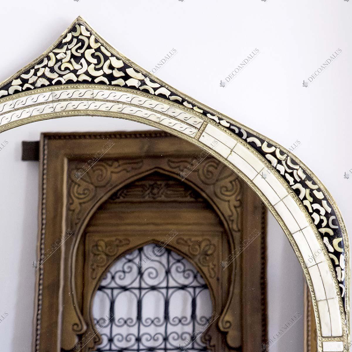 Espejo circular estilo marroqui hueso y estaño 18