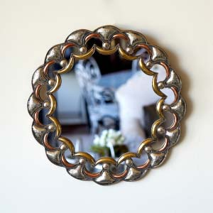 Espejo Circular de pared tres metales 88