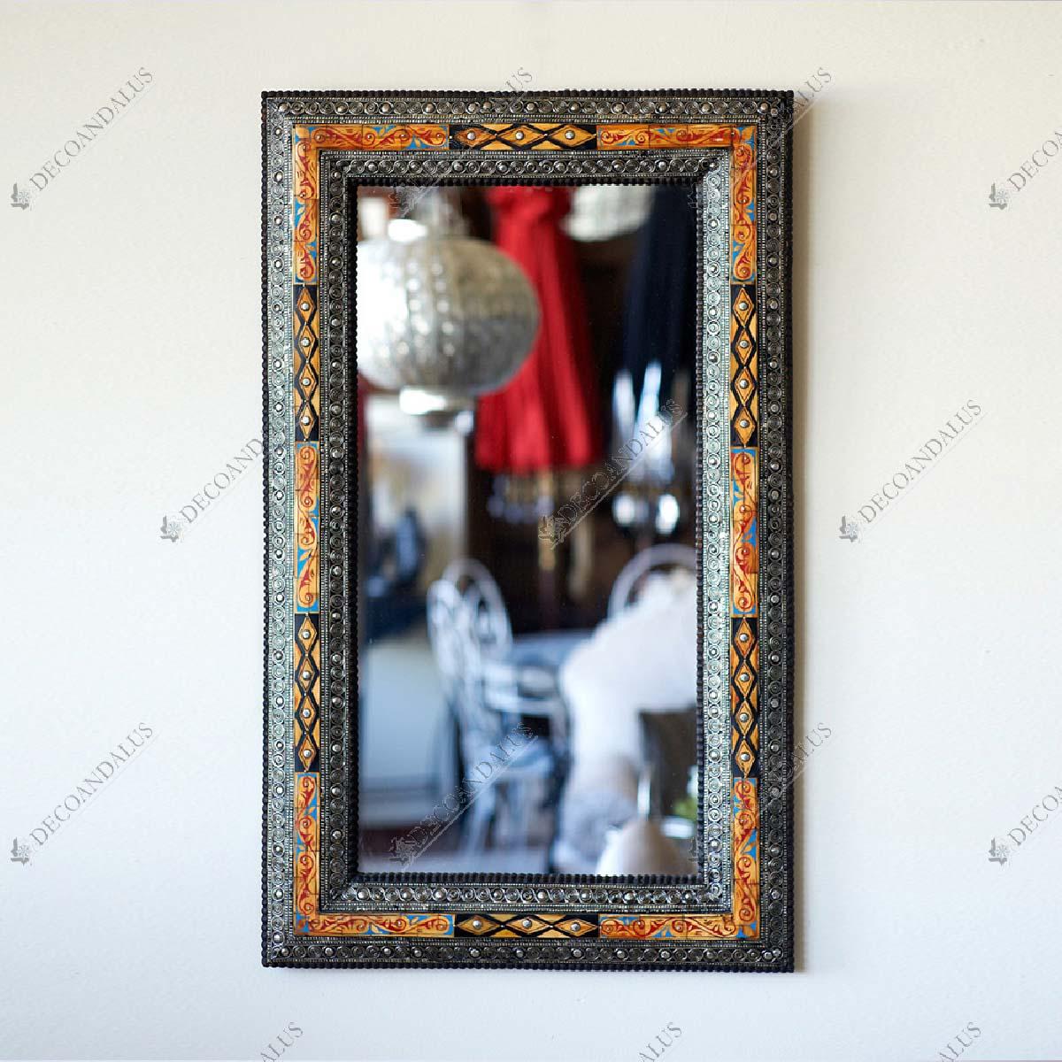Espejo pared rectangular hueso y estaño 40