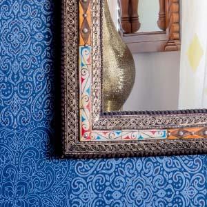 Rectangular Wall Mirror bone and Tin 40