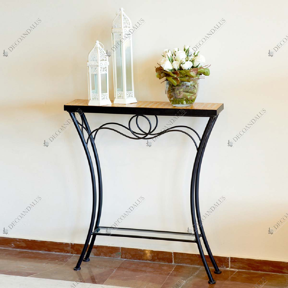Wrought Iron Glass and Mosaic Console Table 24.40