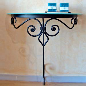Wrought Iron and Cristal Semicircular Console Table 02-41