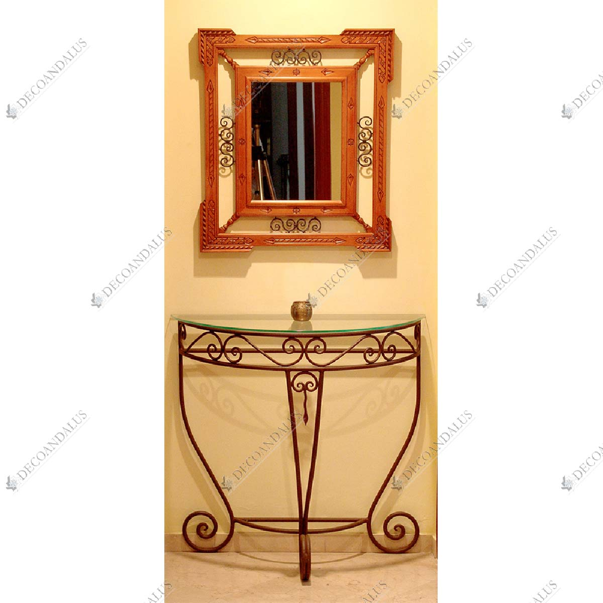 Wrought Iron and Glass Console Table 02-42