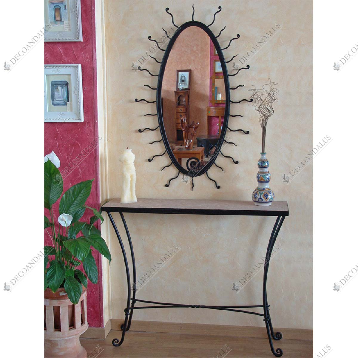 Wrought Iron and Glass Console Table