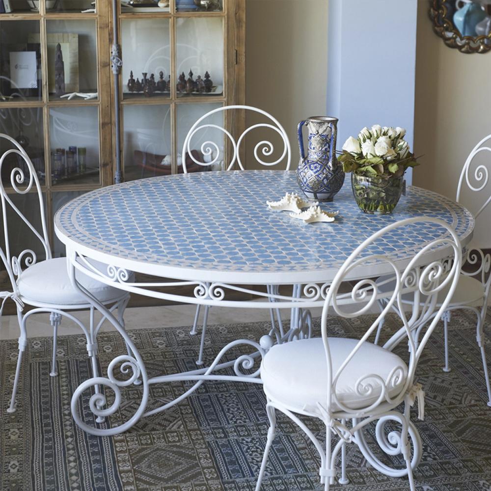 Mesa de mosaico cerámica artesanal. Estilo árabe. Decoandalus Tienda Muebles Marbella