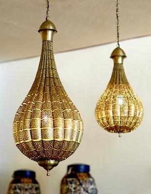 Lámpara árabe calada bronce