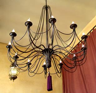 Lámpara araña hierro